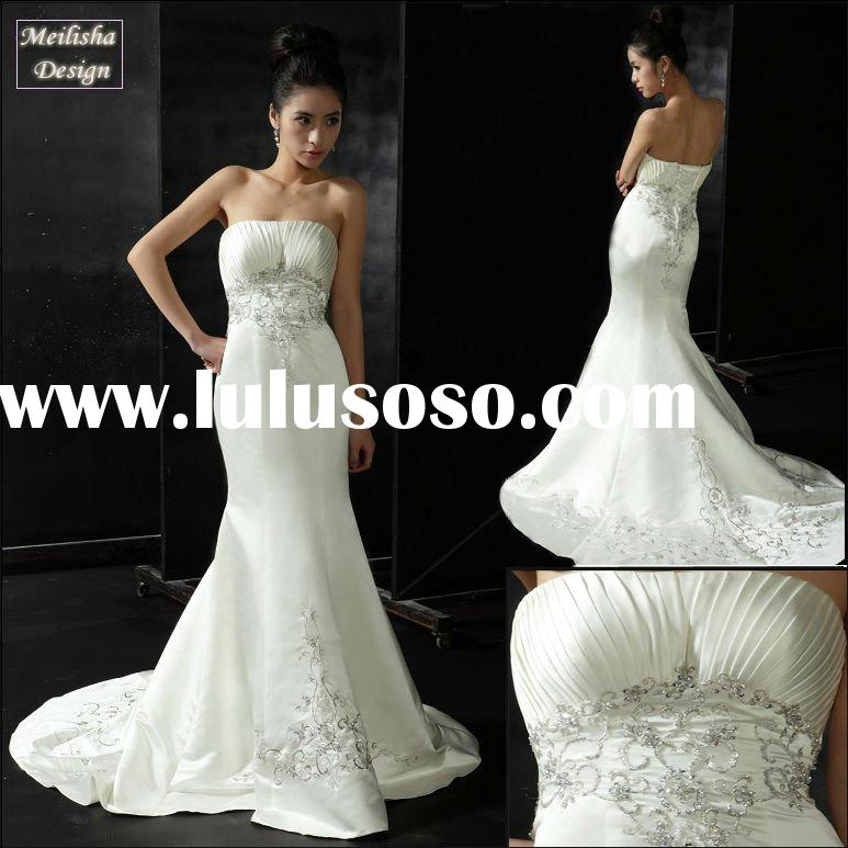 Style HT0566 Origional Design Satin Embroidery Beaded Bridal Wedding Dress
