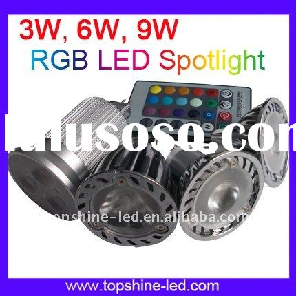High Quality E27 RGB LED spotlight with IR Remote Controller CE&ROHS