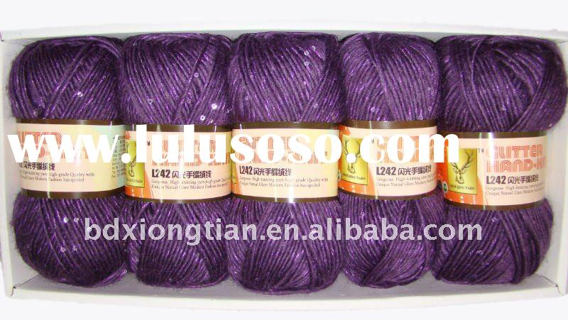 Wool sequins hand knitting wholesale yarn,dyed fancy yarn,new yarn