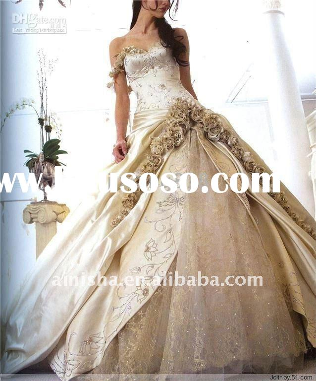 2011 exquisite high quality A-line strapless floor length beaded lace flower organza wedding dress h