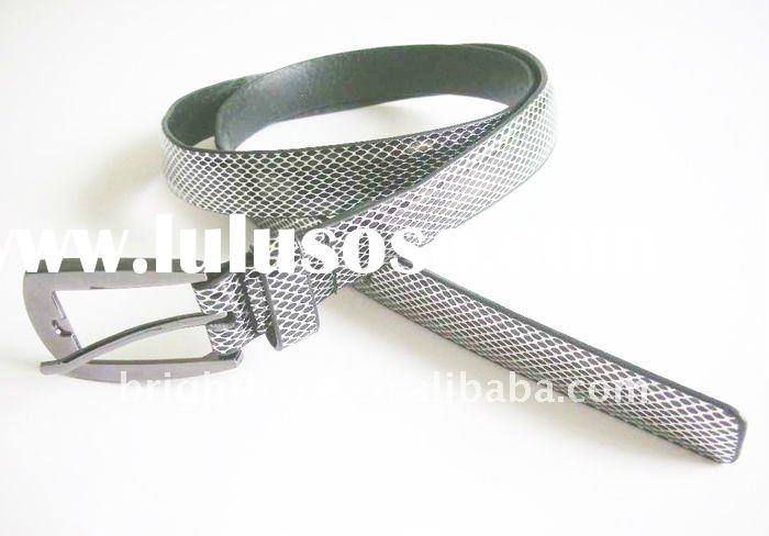 2012 fashion Snake skin leather belts with pin buckle for ladies