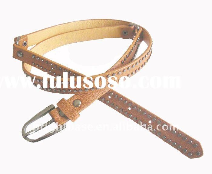 2012 studded PU leather belts with two lines of rivets for ladies