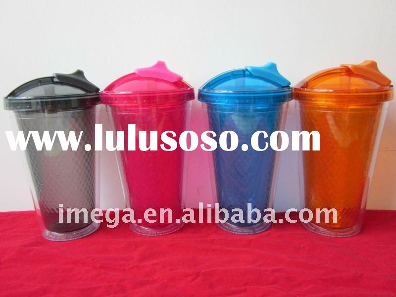 Double Wall  Plastic Mug with Silicon Straw
