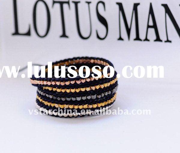 chan luu Alloy 5 Wrap Bracelet with gunmental on black Leather fashion jewelry