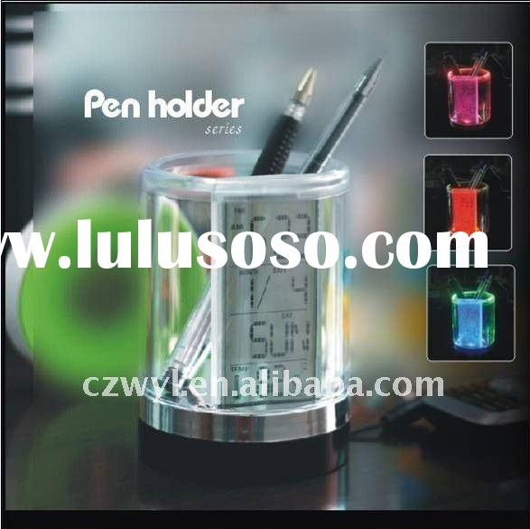 colorful pen holder clock(Time/Temperture display,7 color LED light ,Calendar, time and temperature