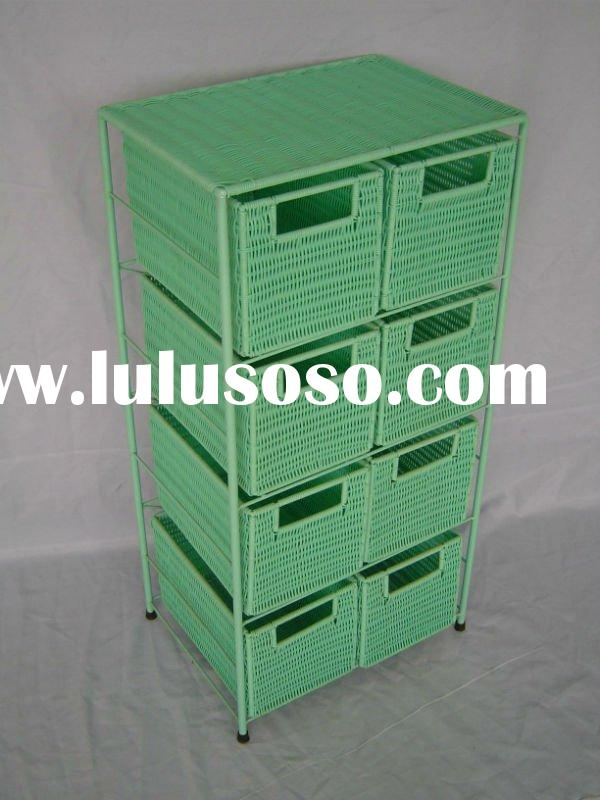 Colorful PE storage kitchen cabinet with drawers