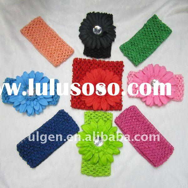New Fashion 3.9'' Sweet Headband with Flower, Crochet Baby Headband