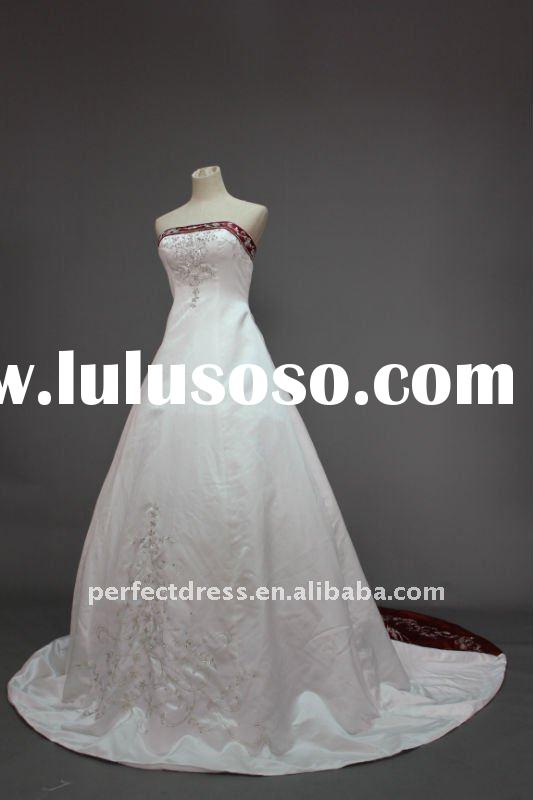 A-line Red and white wedding dresses RSC0599