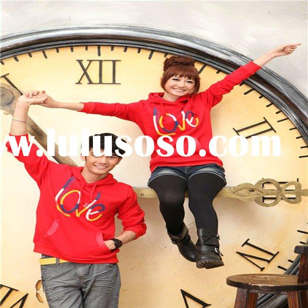 2011 new fashion clothes-red cotton long-sleeve hoody for lovers with LETTERS on