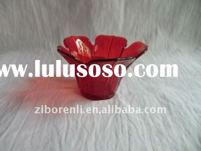 flower shaped colored glass candle holders