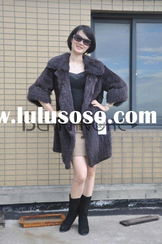2011 Fashion Rabbit Fur Weaving Long  Coat With Fox Fur Collar