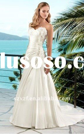 beautiful strapless tail ruffle wedding gown dresses