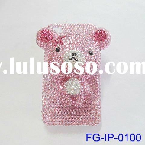 2012 newest fashion design twinkle resin crystal 3D cute cartoon bear apple Iphone 4 housing case ac