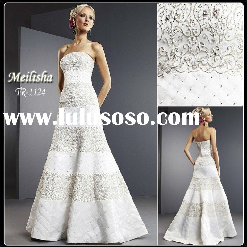 Style TR1124 Embroidered Lace Chaple Train Bead Satin Bride Wedding Dress