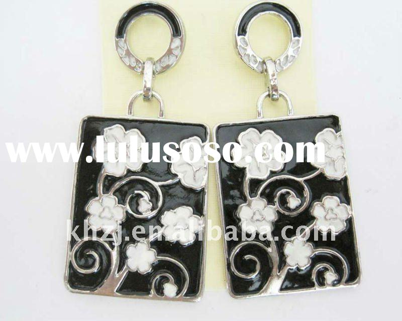 2011 fashion zinc alloy earring/rectangle shape earring/enamel earring