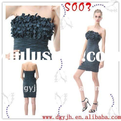 Strapless ruffled short evening dress 2011