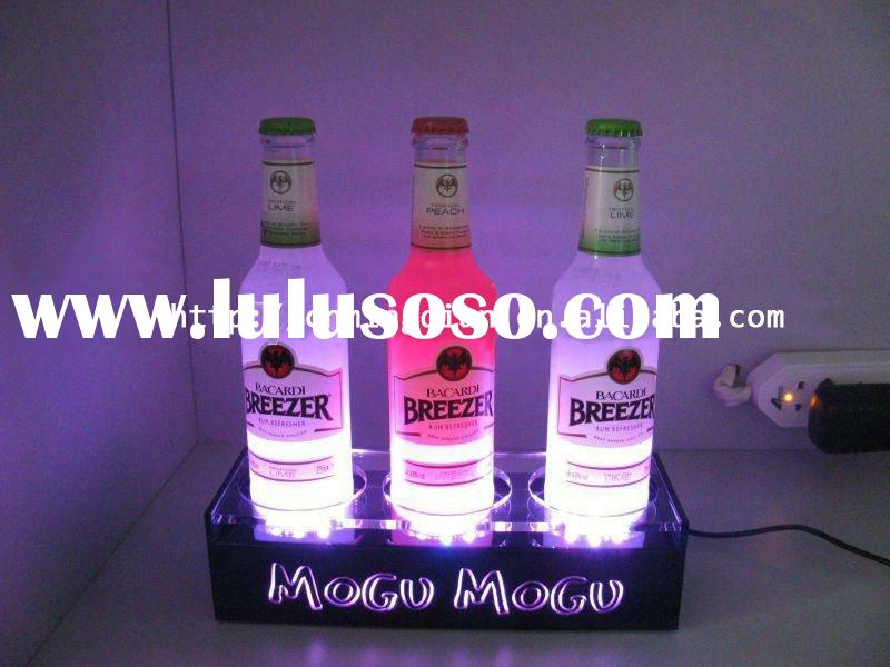 led acrylic wine display holder,3 bottle display stand