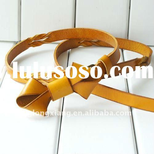 2cm fancy ladies'  genuine leather braid belt with bow design