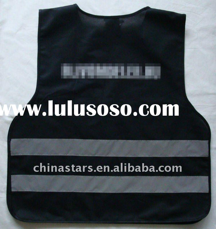 Black color reflective safety vest with customized logo imprint