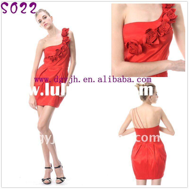 Taffeta one shoulder short evening dress made in china S022