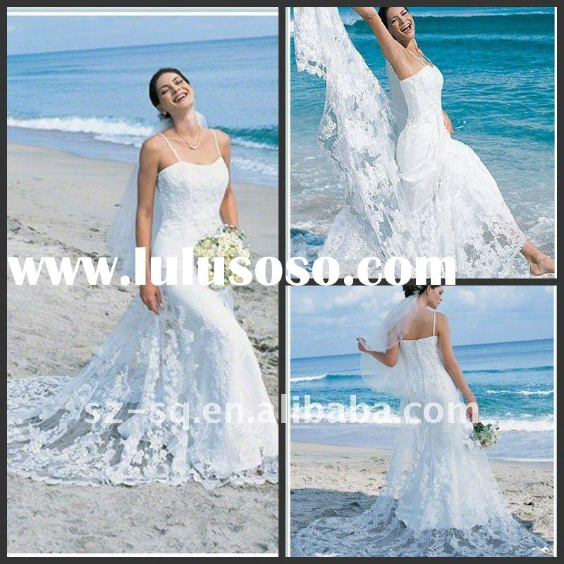 Beach Casual Trailing ALine Spaghetti Strap Wedding Dress