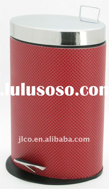 B&Q Stainless Steel Dustbin with Leather