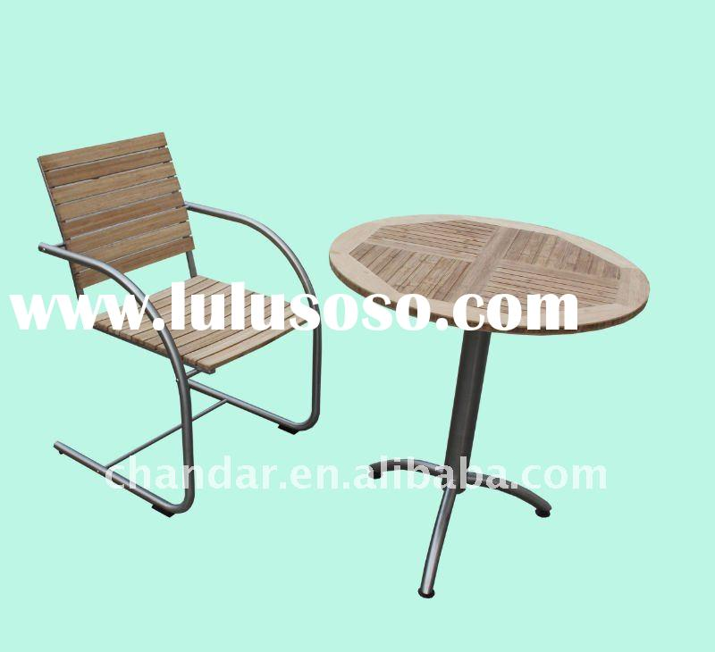 outdoor teak wood dining table and chair stainless steel  furniture