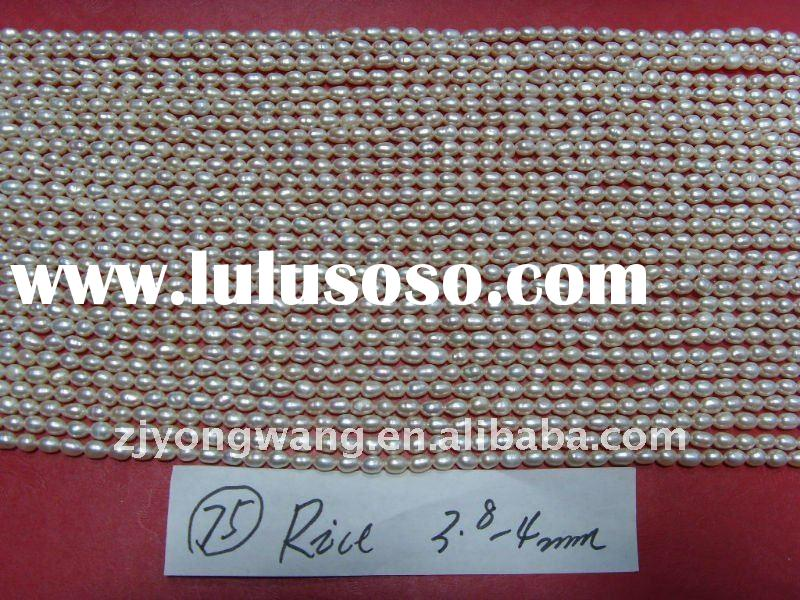3.8-4mm rice freshwater pearl strands
