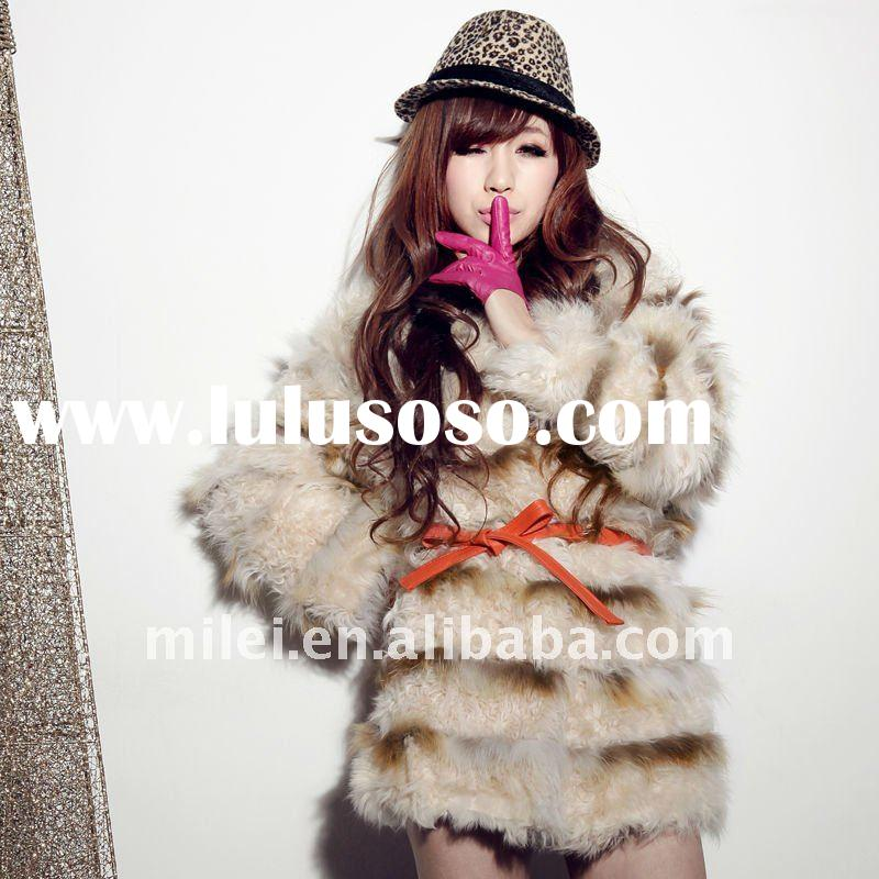 real leather belt Winter women sheep fur coats and fox fur