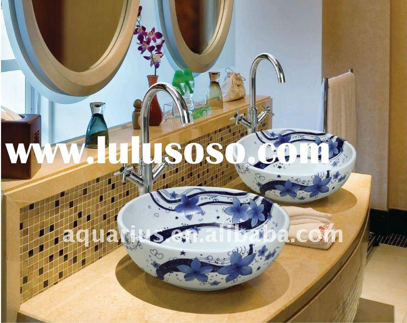 Blue and White Porcelain Art Sink, Vessel Sink, Art Ceramic Sinks, Porcelain Sink GD20-01