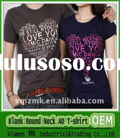 OEM Printing 100% Cotton Couple T-shirt