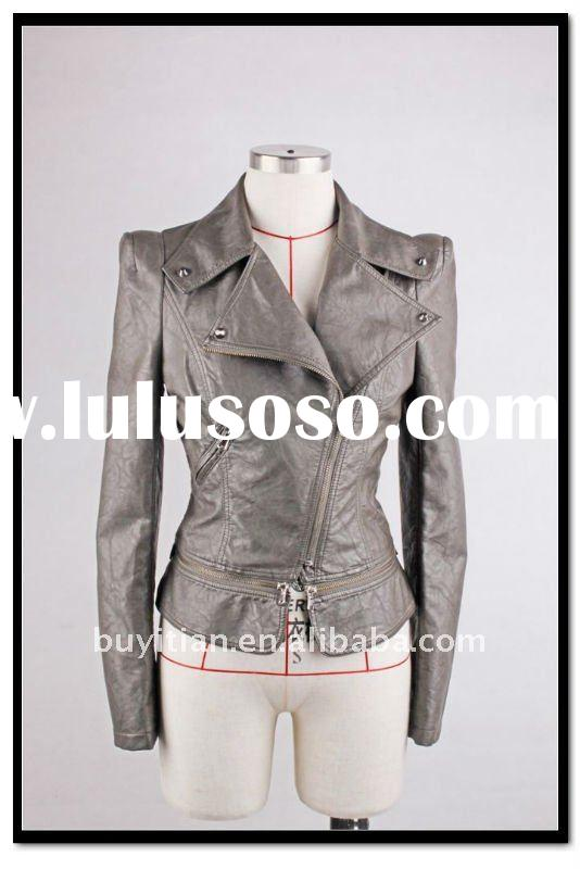 lady's leather jacket--korean design for wash Pu