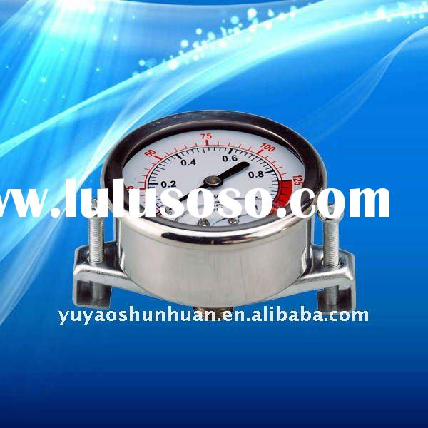 Fluid filled stainless steel pressure gauge with U clamp