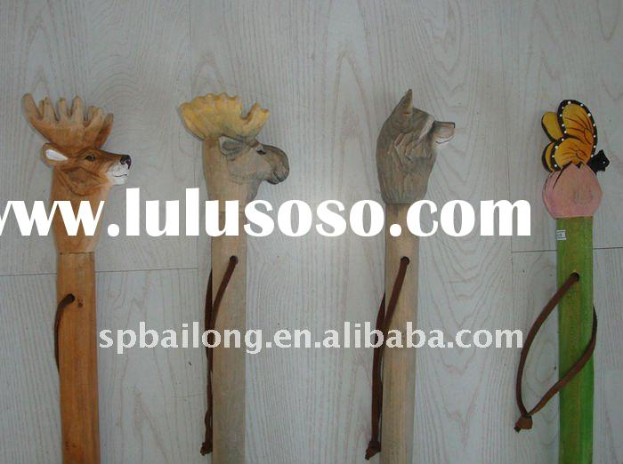 wood animal head walking stick/carved wood walking stick/outdoor camping hiking stick