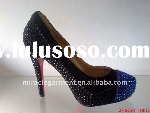 New style blue crystal women bridal shoes