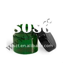 Green cosmetic glass jar 50ml with black cap