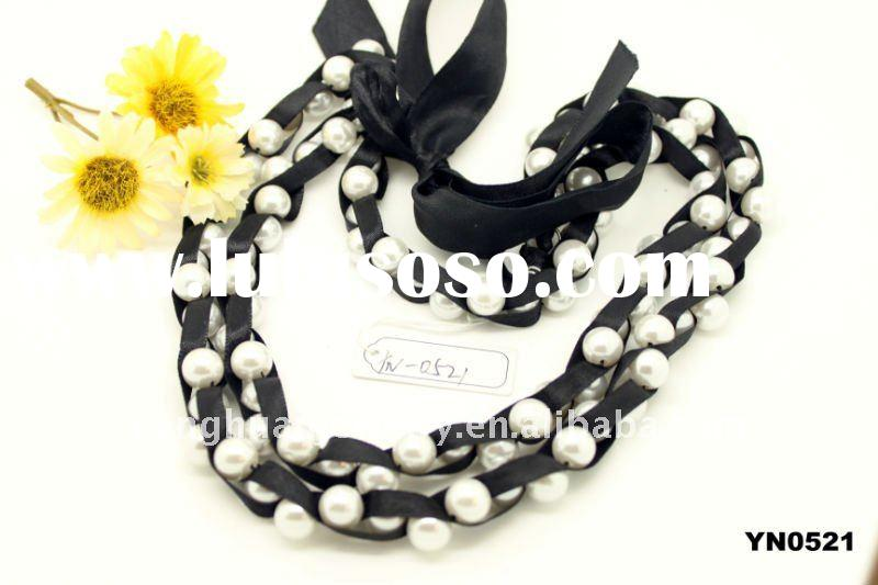 best selling fashion imitation jewelry black rope pearl necklace