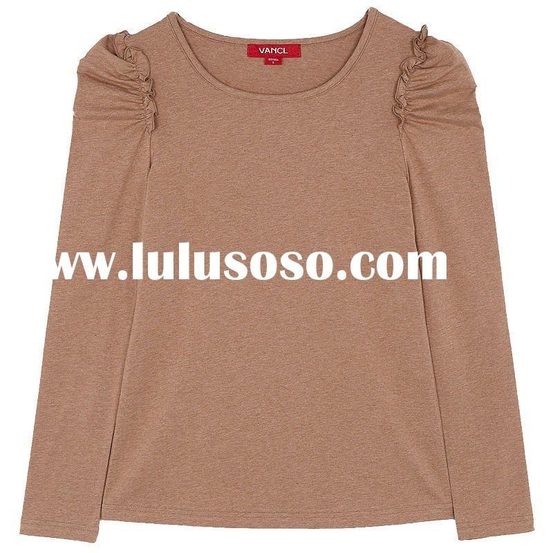 fashion women o-neck T-shirt flowers yarn material in 93.7% cotton +6.30%spandex