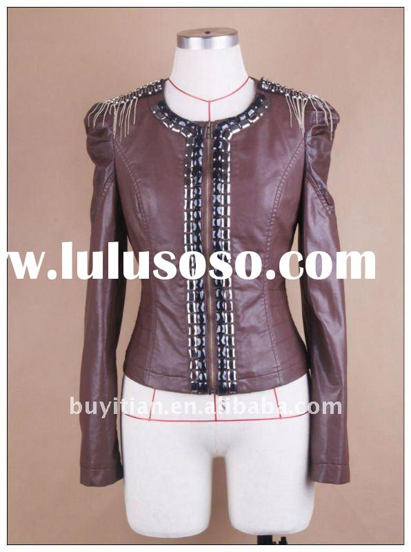 lady's leather jacket--korean's out wear for PU fabric