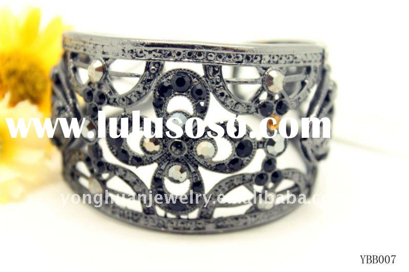 new style best selling  fashion costume jewelry alloy bangle with black stone cross style