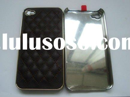 the fashional  carbon fiber phone Case For Iphone 4,mobile Phone Cover With Golden Leopard