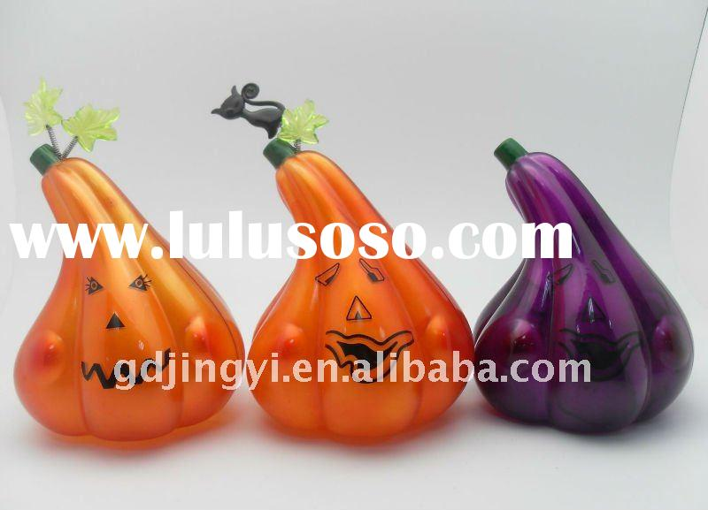 Decorative lighted plastic halloween pumpkin
