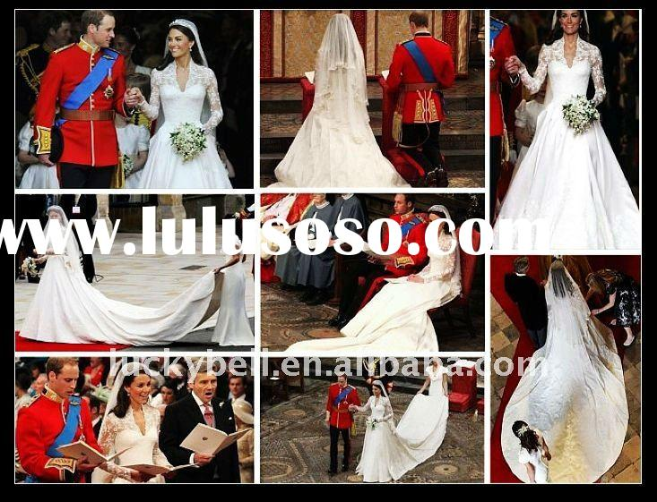 Free shipping New Long Sleeve SemiCathedral Kate 39s Wedding dress WD1006