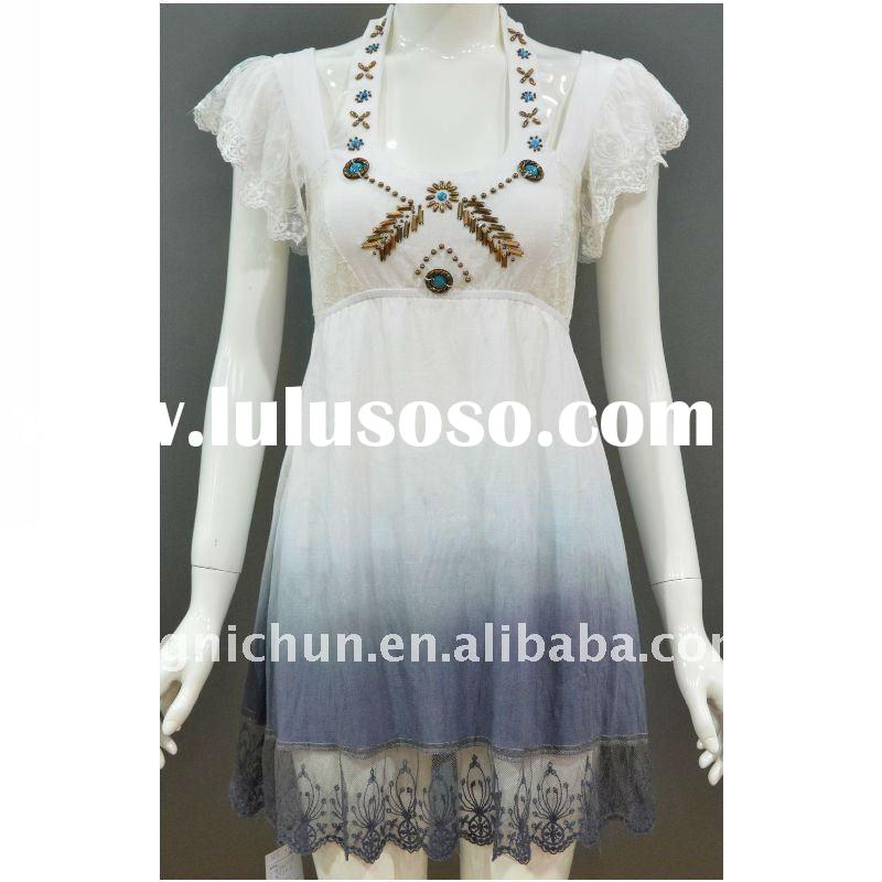 fancy beaded halter dip died white dress with lace in hem