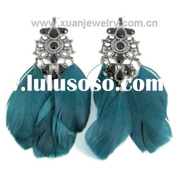 NEW!!! Fashion Alloy with CZ diamond & turquoise feather earring