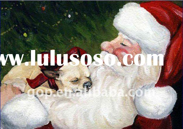 Santa Claus oil painting on canvas for home decoration