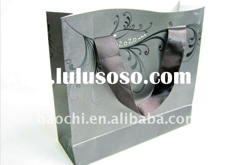 recycle shopping paper bag with ribbon handle