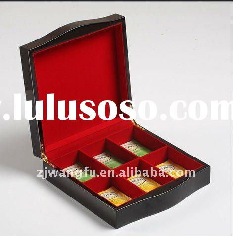high gloss finish wooden tea box