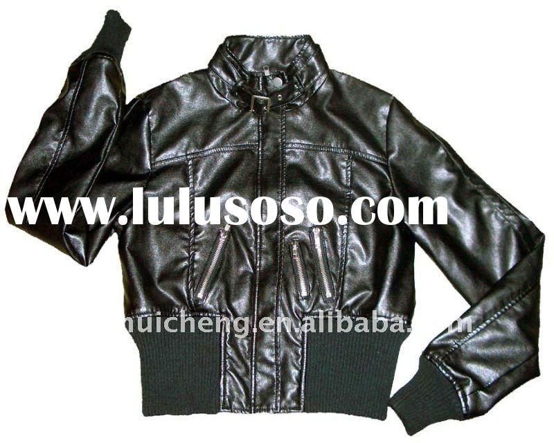 ladies fashion short winter leather coat with rib hem and cuff