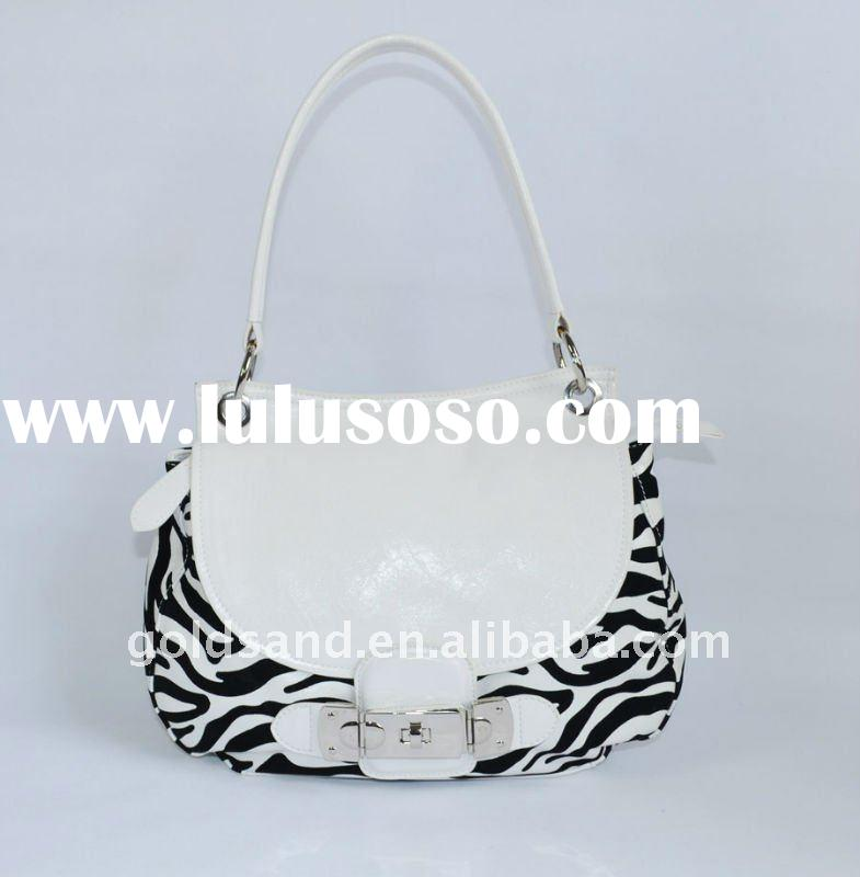 2012 Trendy Women's PU Handbag/flocking zebra-stripe PU bag/Top Quality PU Bags/Fashion Ladi